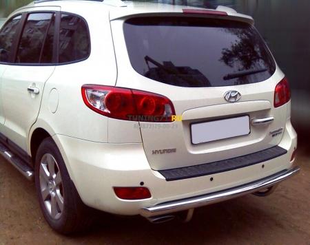 Hyundai Santa Fe New 2006-2009г.в.-Защита заднего бампера d-60 радиусная